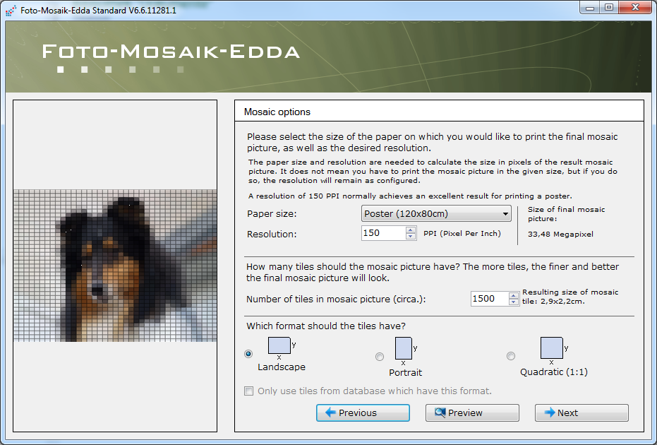 Foto-Mosaik screenshot